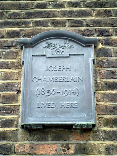 Joseph Chamberlain black plaque - Joseph Chamberlain   (1836-1914)  lived here