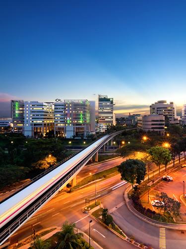city longexposure sunset landscape singapore cityscape nightscape sony bluehour mrt dslr jurong smrt jurongeast theworldthroughmyeyes digitalpimp manfrotto322rc2 sonyalpha manfrotto190xprob nathanhayag bananats
