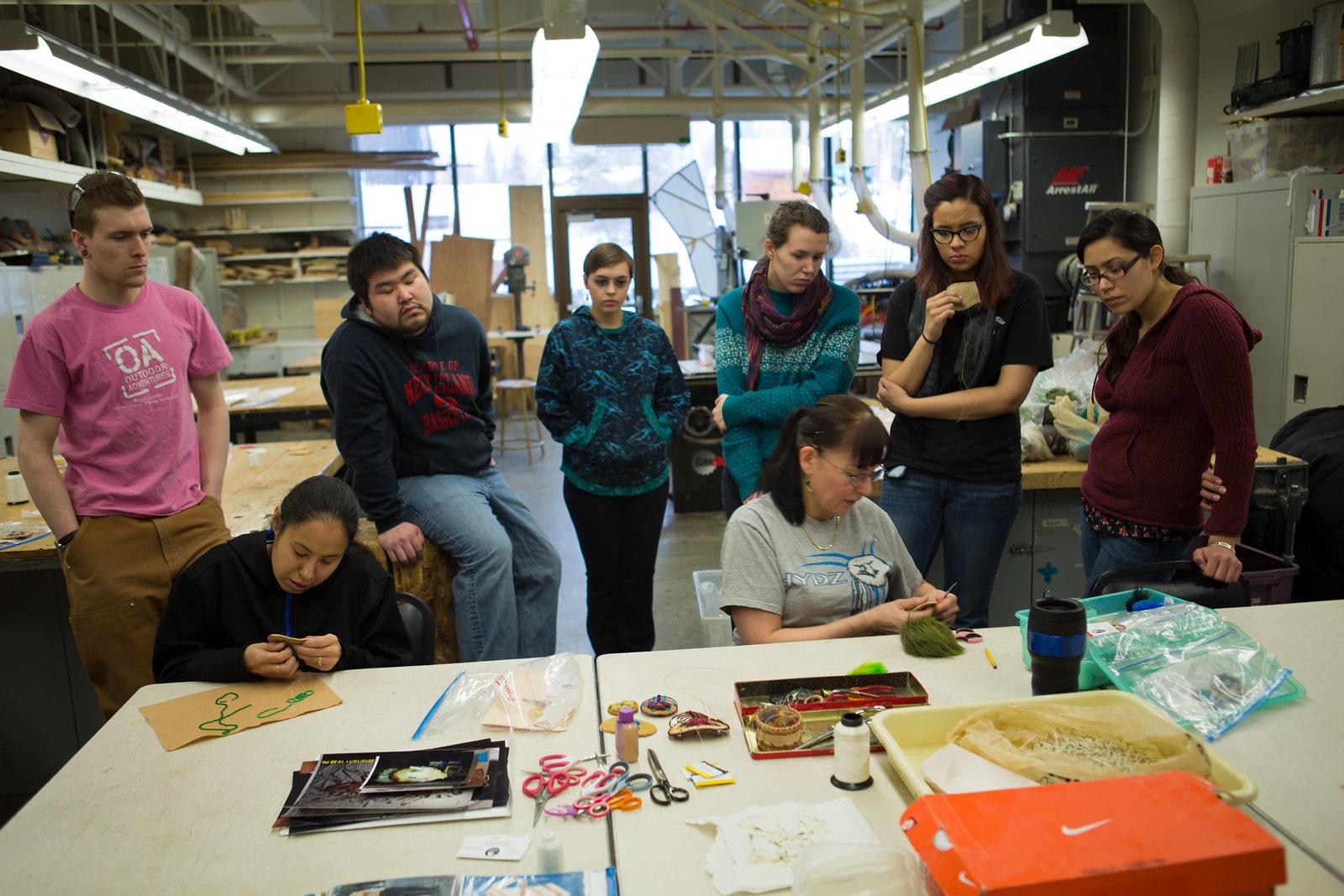 Native art sewing class