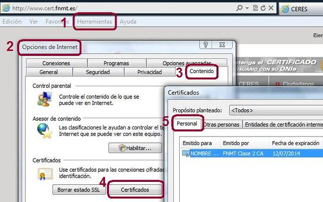 Acceso a certificados en IE