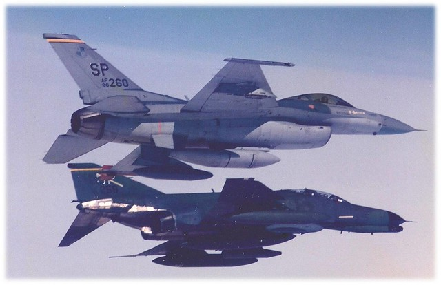 F-16 Fighting Falcon and F-4 Phantom II