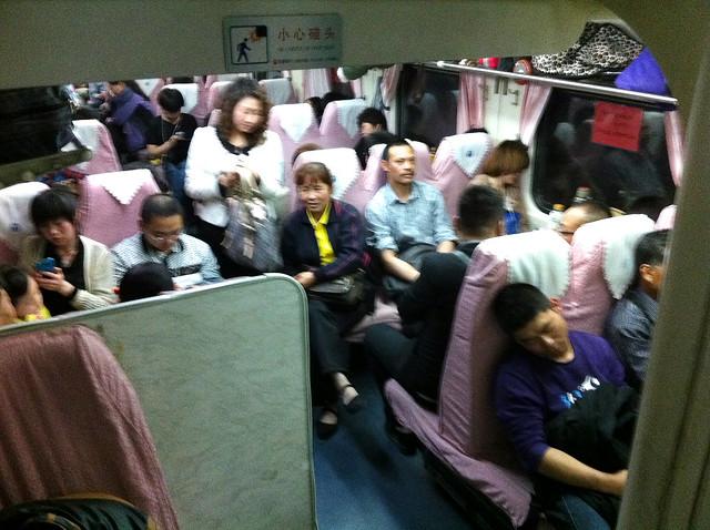 People in the night train, China