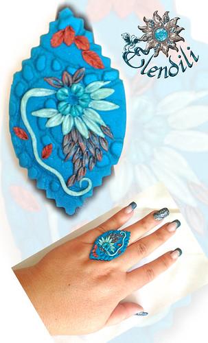 Conjunto de fimo textura y flores by **Elendili**