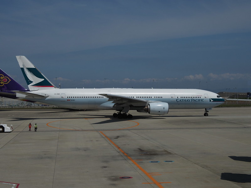B777 of Cathay Pacific in Kansai International Airport
