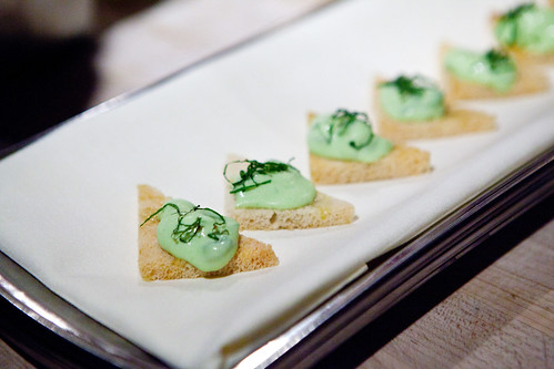 Fava bean purée with mint on toasts