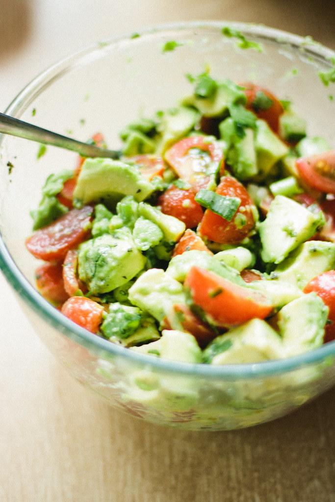 sweet potato-lentil soup & mint-avocado salad via chevrons & éclairs