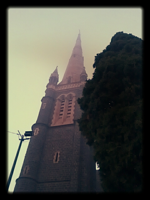 fog at the Catholic Church
