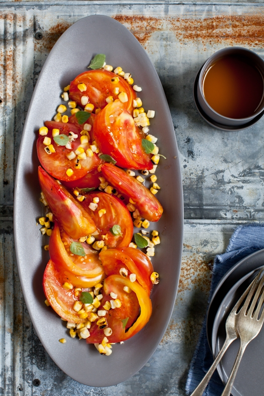 Tomato & Grilled Corn Salad With Sriracha Vinaigrette