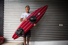 Allan Byrne shows off a finished Byrning Spears tow board.