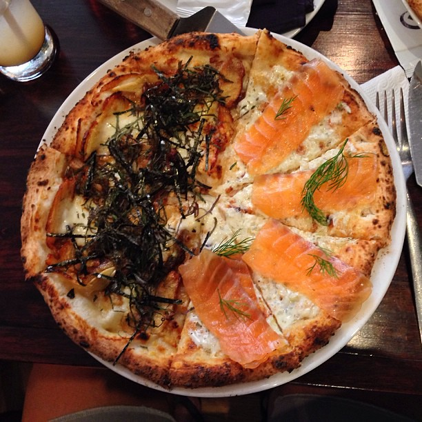 pizza topped with fish