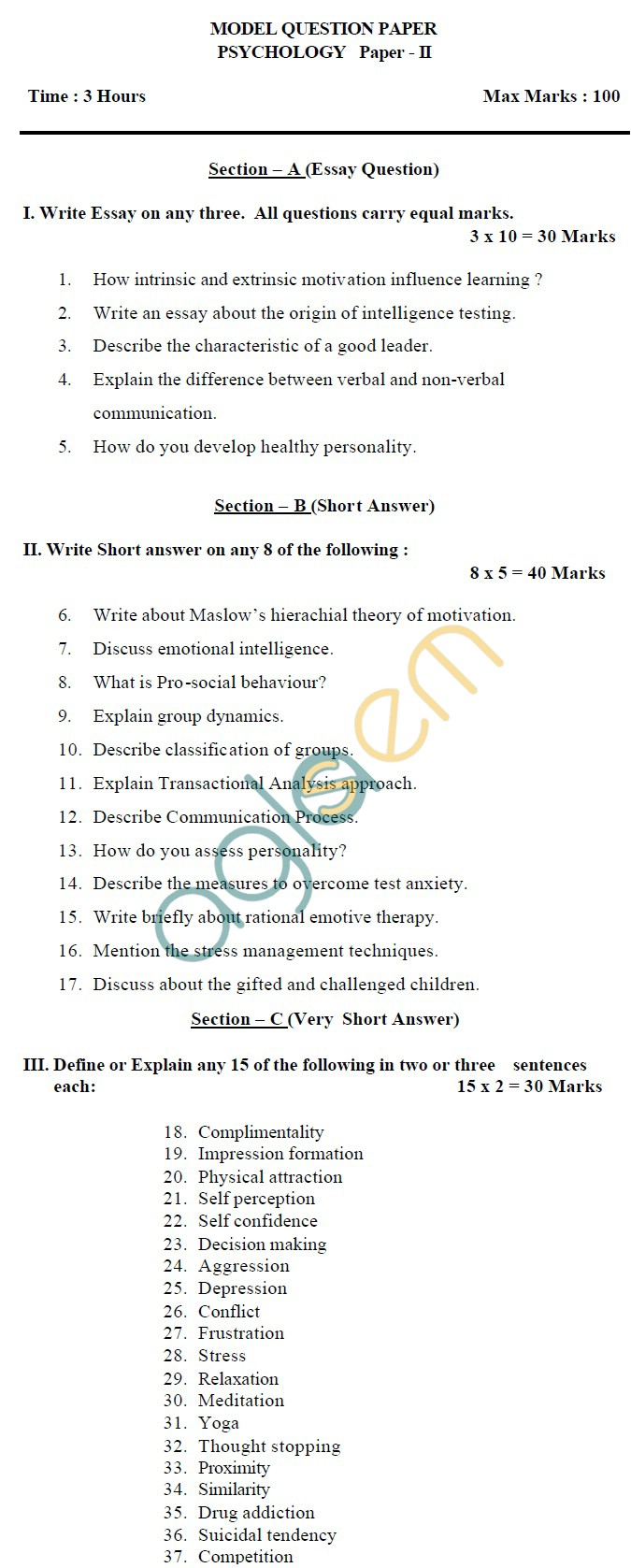 AP Board Intermediate II Year Psychology Model Question Paper