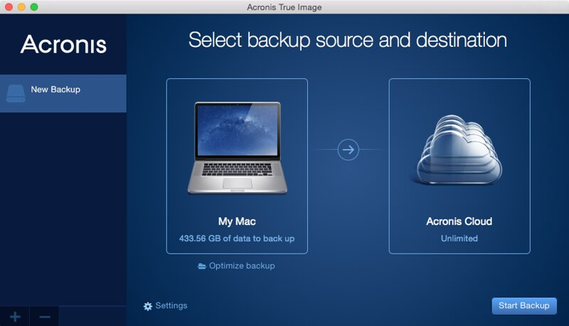 Acronis True Image 2015 - Settings - Acronis Cloud