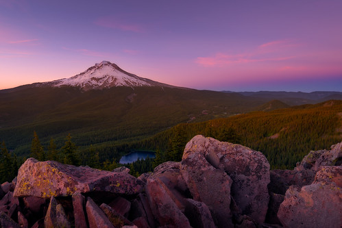 travel sunset summer mountains june oregon forest landscape volcano rocks colorful mirrorlake pacificnorthwest mounthood foreground sidelight governmentcamp tomdickandharrymountain traveloregon