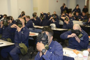 Coast Guard boat crew members receive domestic egress training Wednesday, Jan. 28, 2015, at Training Center Cape May. Instructors from Joint Emergency Training Associates conducted a two-day training exercise to ensure proficiency in combating chemical, biological, radiological and nuclear defense training. (U.S. Coast Guard photo by Petty Officer 3rd Class David Micallef)