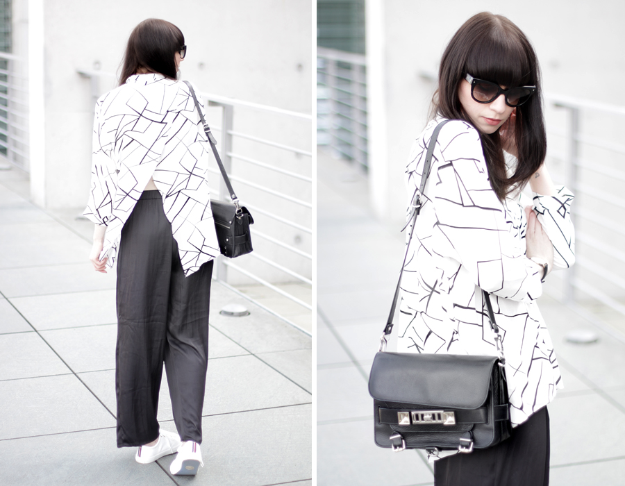 ax paris geometric blouse shirt black white pattern wide pants clean sporty scandinavian look fashionblogger germany ricarda schernus cats & dogs proenza schouler gant sneakers prada sunglasses 1