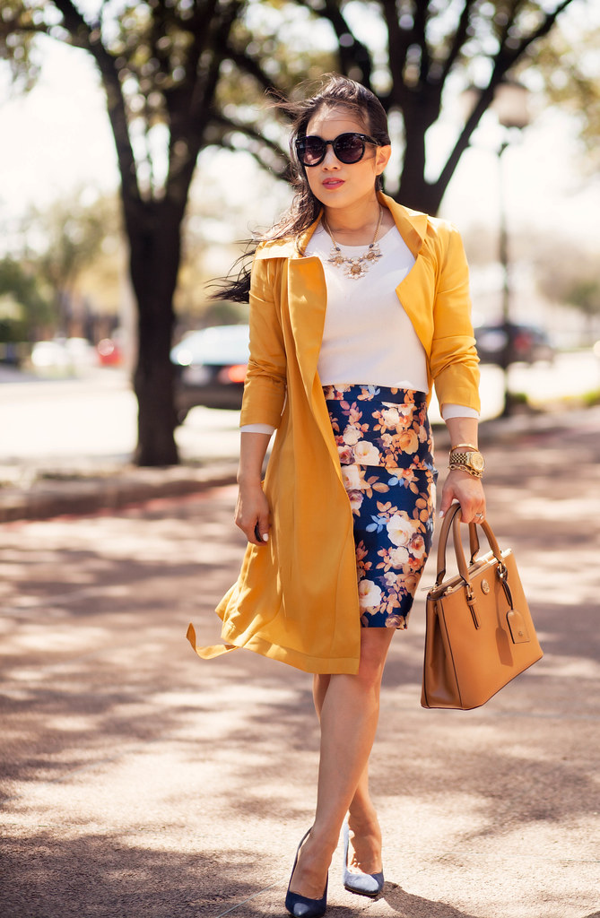 cute & little blog | petite fashion | mustard yellow maxi wrap trench coat, floral pencil skirt, tory burch mini robinson | spring outfit