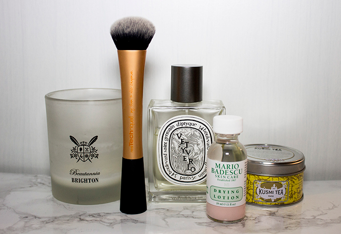 January Favourites: Beautannia Brighton Candle, Real Techniques Expert Face Brush, Diptyque Vetyverio, Mario Badescu Drying Lotion, Kusmi Jasmine Green Tea