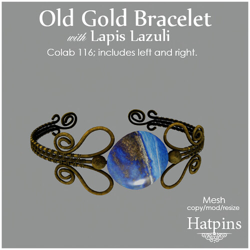 Hatpins - Colab 116 - Old Gold Bracelet with Lapis Lazuli