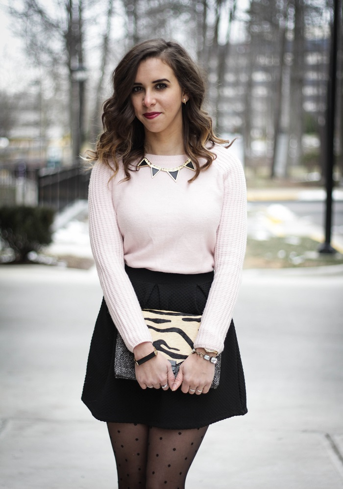 va darling. fashion blogger. dc blogger. duster cardigan. valentines day outfut. pink. mini skirt. polka dot tights. 10 crosby derek lam flats. andrea viza 8