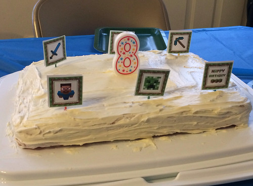 8th birthday cake (with Minecraft cake toppers).