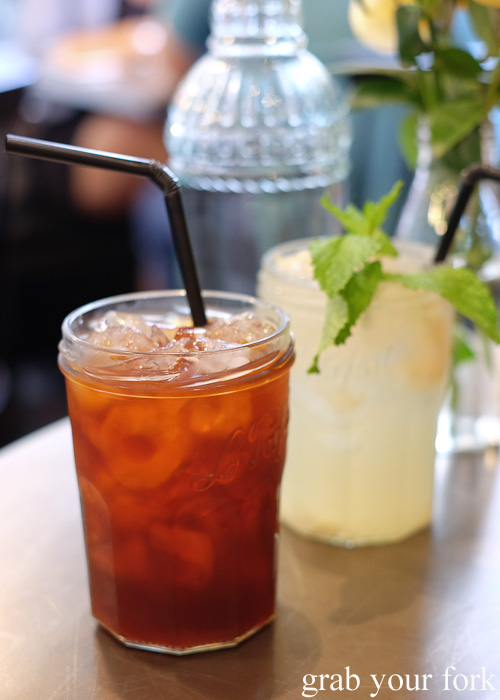 Sweet iced Thai red tea by Boon Cafe at Jarern Chai, Sydney