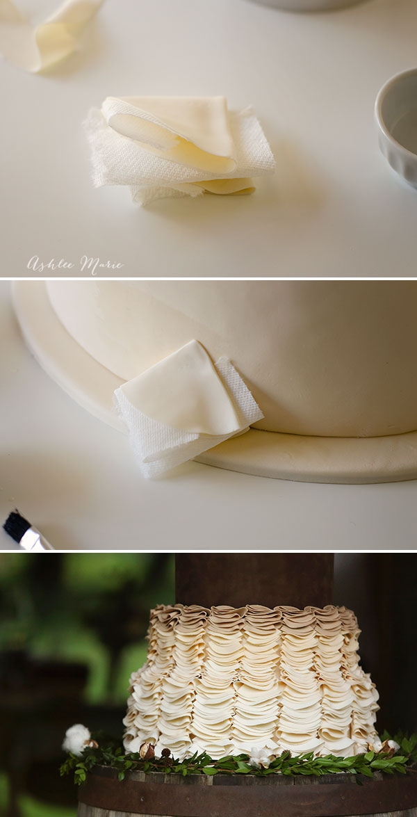 folding and layering these gumpaste circles creates and amazing effect on this wedding cake