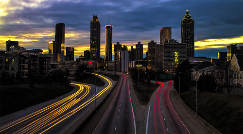city longexposure bridge atlanta sunset color colour building cars skyline night clouds canon buildings photography lights evening photo cityscape traffic atl sunsets 7d nightscene nightscenes jacksonst lightstream oldfourthward markchandler