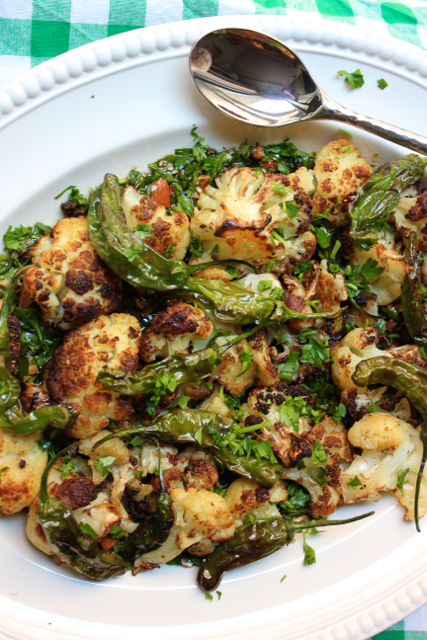 Charred Cauliflower & Shishitos in Loaded Olive Oil
