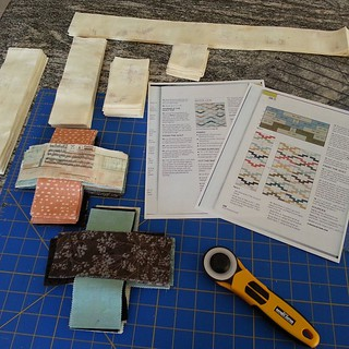 Everything is cut out and ready to sew. This quilt pattern, Interlock designed by Amy Friend is going to be auctioned off for Emily's crew team fundraiser. It's one of  the many items we will have in the silent auction for the Bedford Crew Club. The fabri