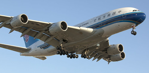 China Southern Airlines Airbus A380-800 arrives Los Angeles (KLAX) from Guangzhou (ZGGG)