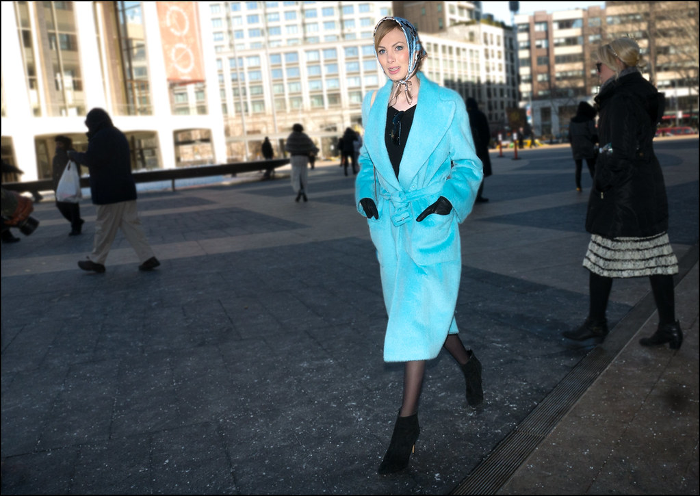 FW2-15  36w long sky blue overcoat blue print head scarf black heeled ankle boots