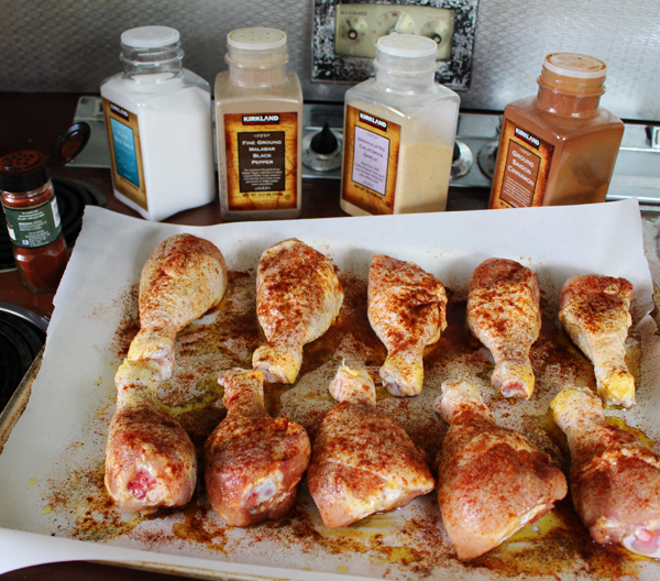 Seasoning chicken drumsticks