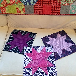 Finished March #thatstashbee blocks for @riain  lots of purples with a bit of navy! I made 3 because the points on the one were not sharp!