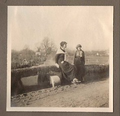 Girls on a Bridge at Fovant Wiltshire 1915