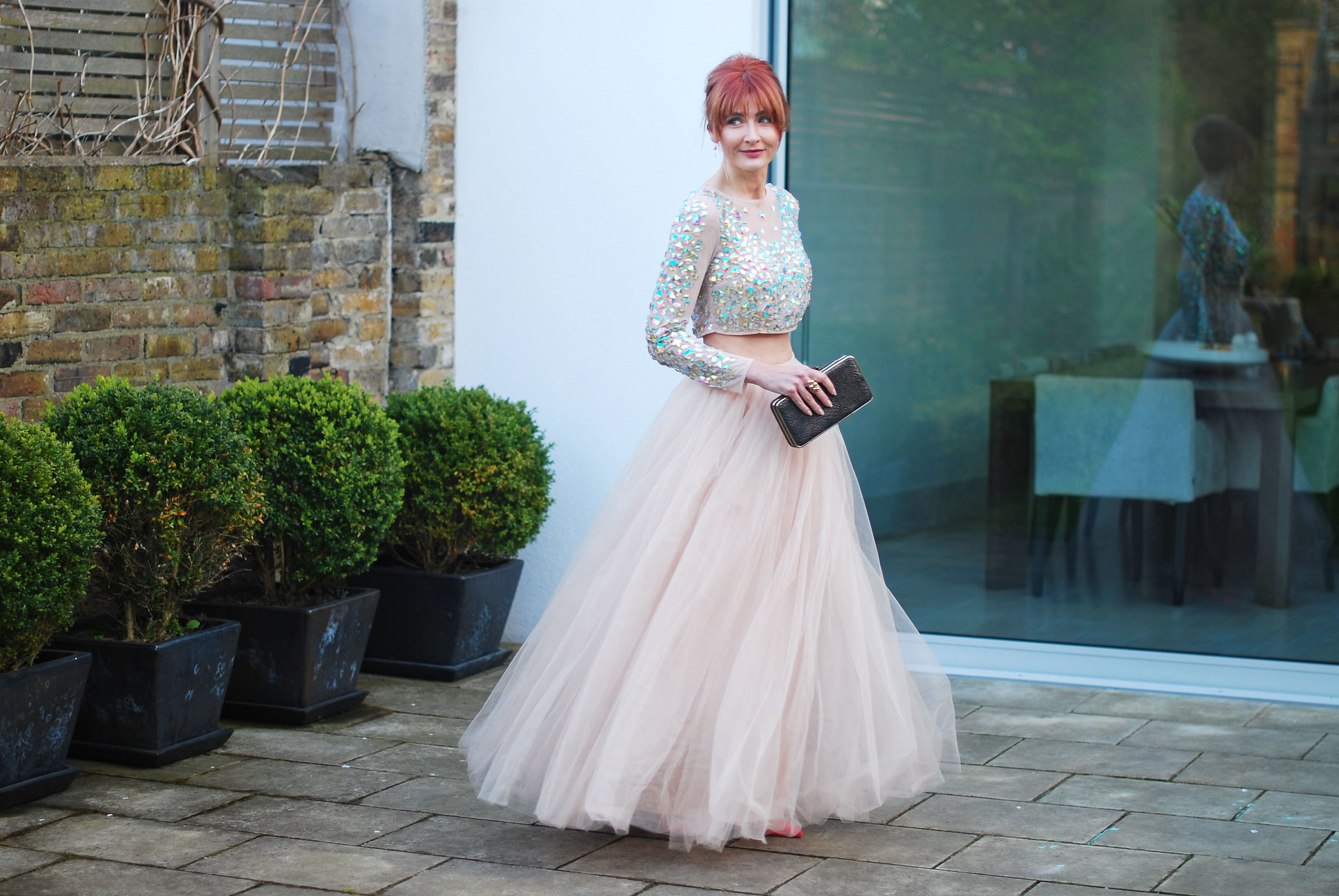 Fairy princess Cinderella style: Blush pink crystal covered crop top, floor length tulle skirt, pink pointed heels   Evening wear, gown, dress   Not Dressed As Lamb