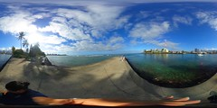 Fishing from the pier at  the Kewalo Basin Park, Honolulu, Hawaii   - a 360° Equirectangular VR