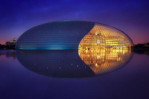 architecture asia beijing bluehour china chinese glass lights longexposure metal modern nationalcentreofperformingarts reflection sunrise sunset twinlight pequim beijingshi cn