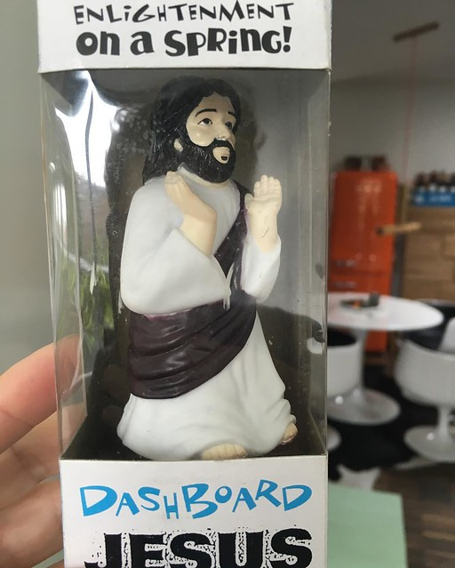 Wherever I go, #dashboard #jesus is there with #enlightment on a spring and #tulip chairs abound.
