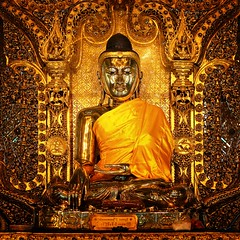 The golden Buddha of Botataung watches people meditate and take naps