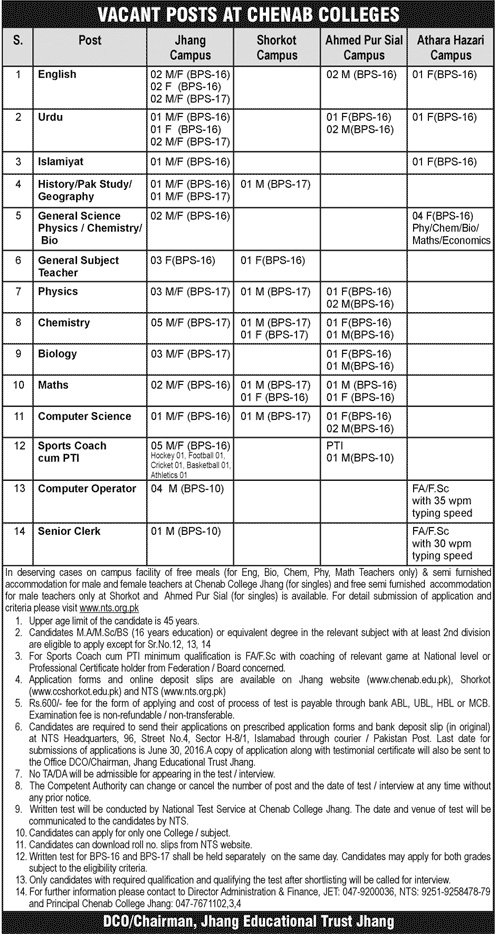 Chenab Colleges Career Opportunities
