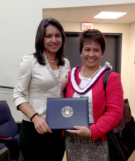 "Rep. Tulsi Gabbard with Dr. Mary Frances Oneha, a recipient of a White House AAPI ""Champions of Change"" award for her work in Native Hawaiian health care. She is the CEO of the Waimanalo Health Center."