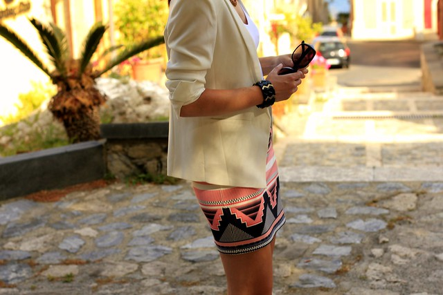 white blazer and skirt outfit