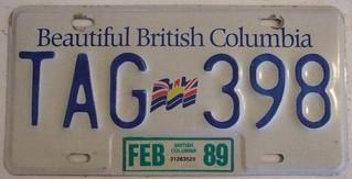 BRITISH COLUMBIA 1989 LICENSE PLATE (TAG PREFIX)