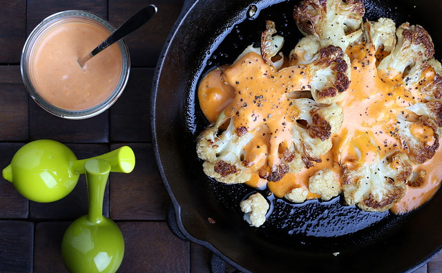 Sesame Roasted Cauliflower with Sriracha-Vegenaise Dressing