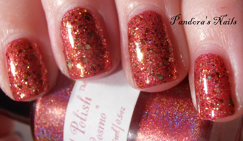 Shimmer Polish Rochelle over Enchanted Polish Cranberry Cosmos 2