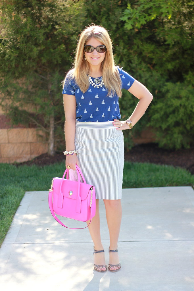Sailboat Tee + Seersucker Pencil Skirt Outfit spring summer