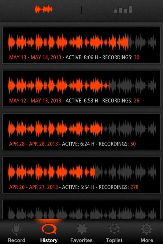 Sleep talk van 12-13 mei, active: 8h06, 30 recordings