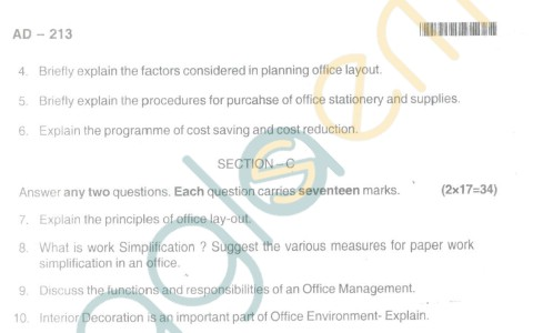 Bangalore University Question Paper Oct 2012II Year BBM - Business Management office Organisation and Management