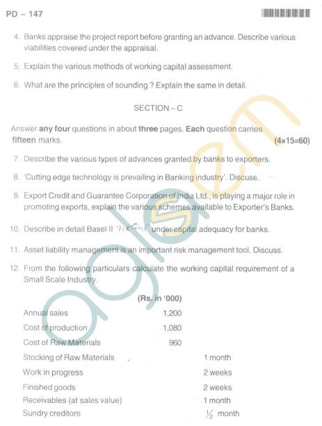 Bangalore University Question Paper Oct 2012II Year M.Com. - Commerce Bank Operations Anad Risk Management