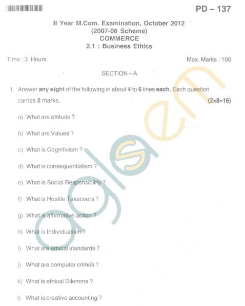 Bangalore University Question Paper Oct 2012II Year M.Com. - Commerce Business Ethics
